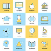 Education Flat Line Icons — Stock Vector