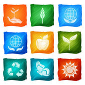 Ecology Icons Watercolor — Stock Vector