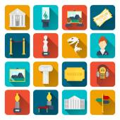 Museum icons flat — Stock Vector