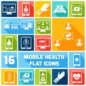 Mobile health icons set flat — Stock Vector