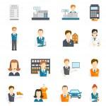 Set icons salesman flat — Stock Vector #53599433