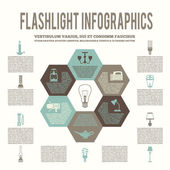 Flashlight and lamps flat infographic — Stock Vector