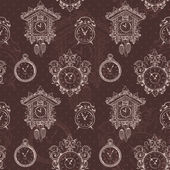 Old vintage clock seamless pattern — ストックベクタ
