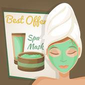 Mujer con máscara de spa — Vector de stock