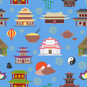 Chinese house seamless pattern — Stock Vector