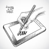 Hand tekenen op de tablet pc — Stockvector
