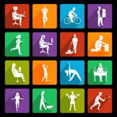 Physical activity icons flat — Stock Vector