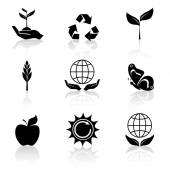 Ecology Icons Set Black — Vetorial Stock