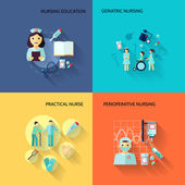 Nurse icon set flat — Stock Vector