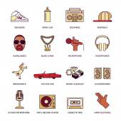 Rap Music Icons Set — Stock Vector