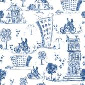 Doodle city seamless pattern — Stock Vector