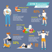 Gym sport exercises infographic — Stock Vector