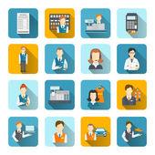 Salesman Icons Set Flat — Stock Vector