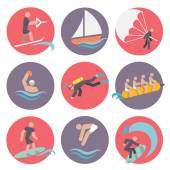 Water sports icons set flat — Stock Vector
