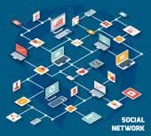 Izometrické sociální síť — Stock vektor