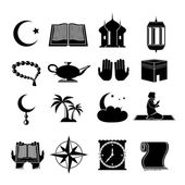 Islam icons set black — Stock Vector