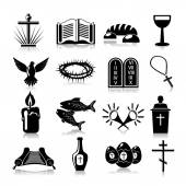 Christianity icons set black — Vector de stock