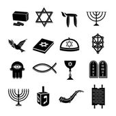 Judaism icons set black — Vector de stock