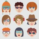 Hipster girl faces — Stock Vector