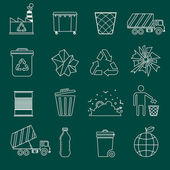 Garbage icons outline — Stock Vector