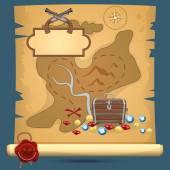 Pirate treasure map — Stock Vector