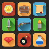 Game resources icons flat — Stock Vector