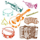 Musical instruments icons color set — Stock Vector