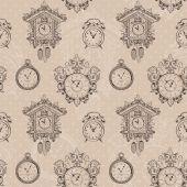 Viejo patrón inconsútil del reloj vintage — Vector de stock