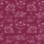 Strawberry jam seamless pattern — Stock Vector