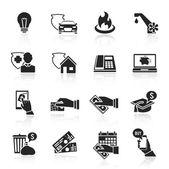 Pay bill icons black set — Stok Vektör
