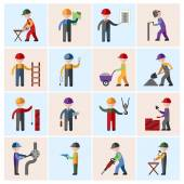 Construction worker icons flat — Stock Vector