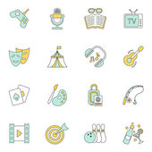 Entertainments icons flat — Stock Vector