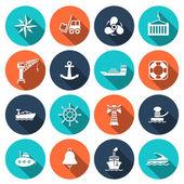 Sea port icons set — Vector de stock