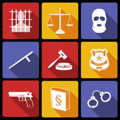 Law and Justice Icons Flat — Vector de stock