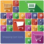 Shopping cart icons set flat — Vector de stock