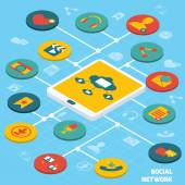 Social network isometric — Stock Vector