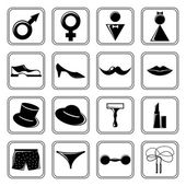 Gender icons set black — Stock Vector
