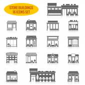 Store building icons set black — Vettoriale Stock