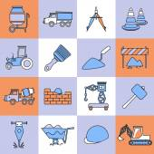 Construction icons set flat line — Stock Vector