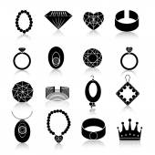 Jewelry icon set black — Stock Vector