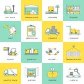 Warehouse icons flat line — Stock Vector