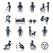Disabled icons set black — Stock Vector #54200889