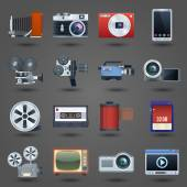 Photo video icons set — Vector de stock
