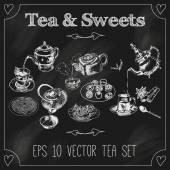 Teapots and cups set blackboard — Stock Vector