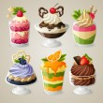 doces sorvete conjunto de sobremesa mousse — Vetor de Stock  #54317223