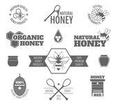 Bee honey label black — Stock Vector
