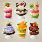 Sweets ice cream mousse dessert set — Stock Vector