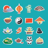 China icons stickers — Stock Vector