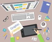 Designer workplace top view — Stock Vector
