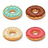Donut dessert set — Stock Vector